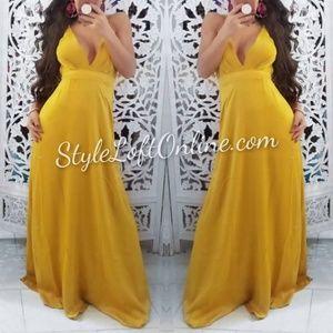 Mustard Satin Maxi Dress